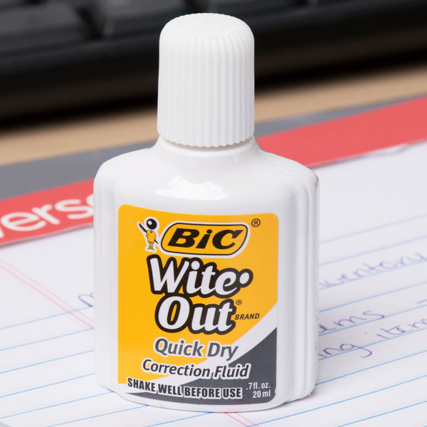 Bic WOFQD324 Wite-Out Quick Dry Corrective Fluid 20 mL Bottle - 3/Pack