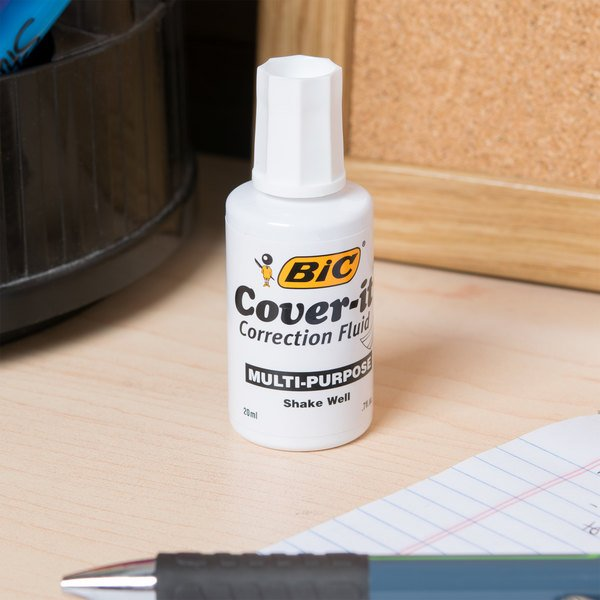 Bic WOC12DZ Wite-Out Cover-it Corrective Fluid 20 mL Bottle - 12/Pack