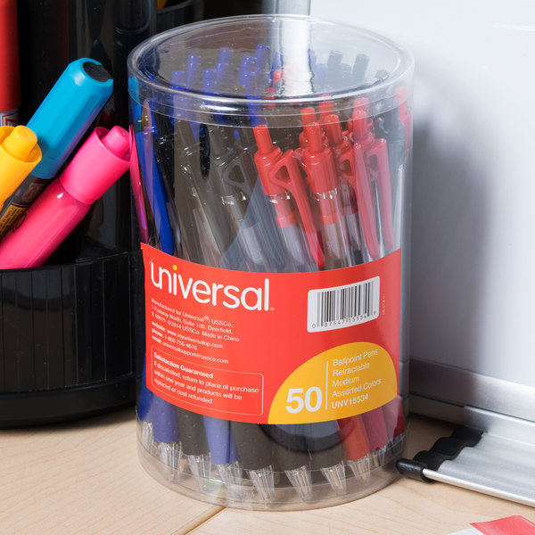 Universal UNV15534 Economy Assorted Ink Medium Point 1mm Retractable Oil-Based Ballpoint Pen