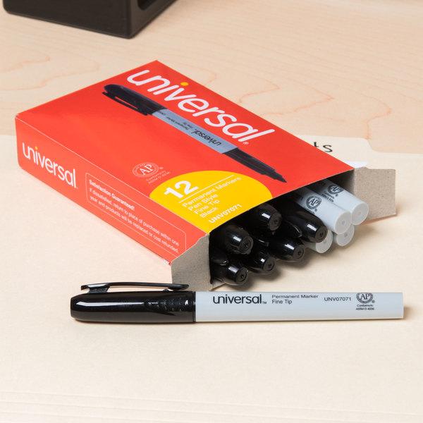 Universal UNV07071 Black Fine Point Pen Style Permanent Marker - 12/Box