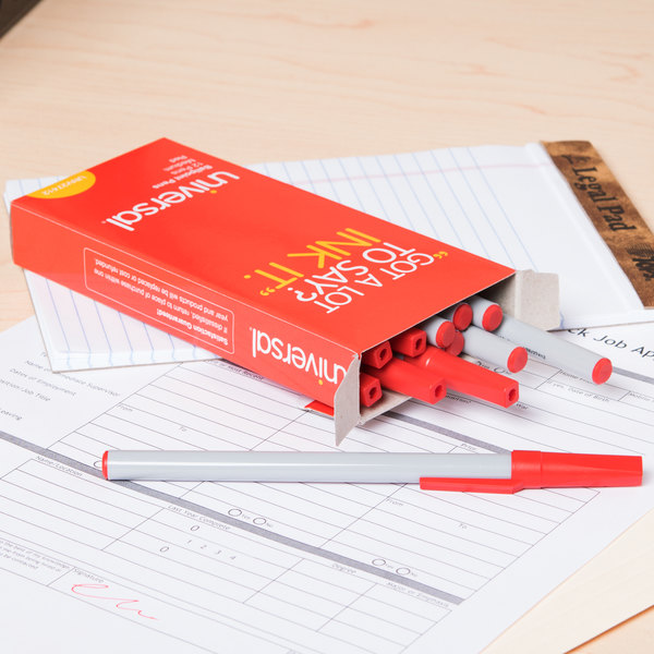 Universal UNV27412 Economy Red Medium Point 1mm Oil-Based Ballpoint Stick Pen - 12/Box Main Image 9
