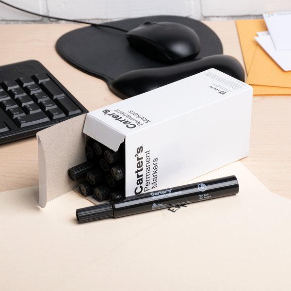 Avery 27178 Carter's Large Black Chisel Tip Desk Style Permanent Marker - 12/Pack