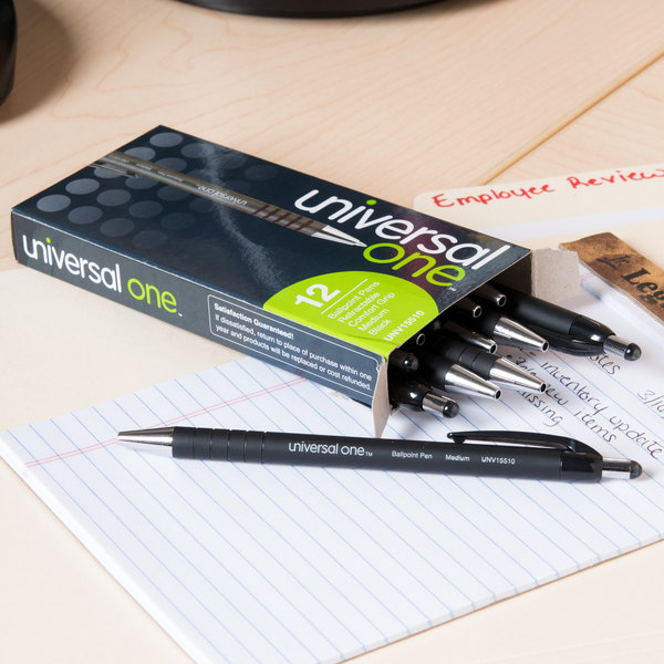 Universal One UNV15510 Comfort Grip Black Medium Point 1mm Retractable Ballpoint Pen - 12/Pack