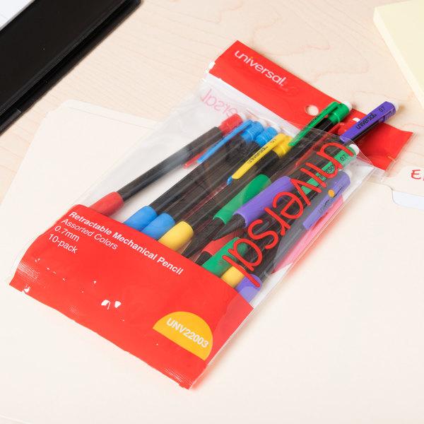 Universal UNV22003 Soft Grip Assorted Barrel 0.7mm Mechanical Pencil - 10/Case