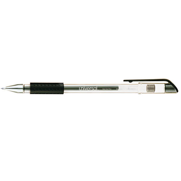 Universal UNV39510 Black Medium 0.7mm Point Rollerball Stick Gel Pen - 12/Box