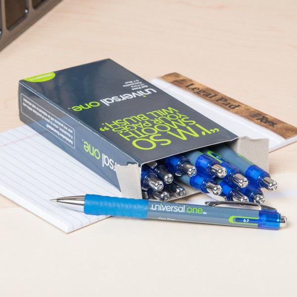 Universal UNV39711 Blue Medium Point 0.7mm Retractable Rollerball Gel Pen - 12/Pack