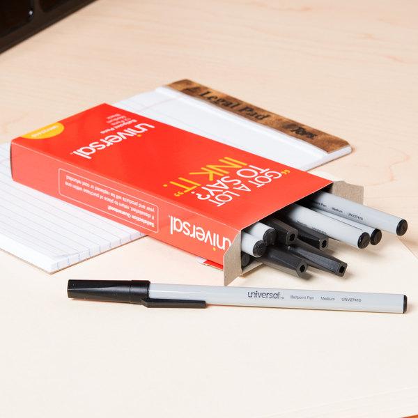 Universal UNV27410 Economy Black Medium Point 1mm Oil-Based Ballpoint Stick Pen - 12/Box
