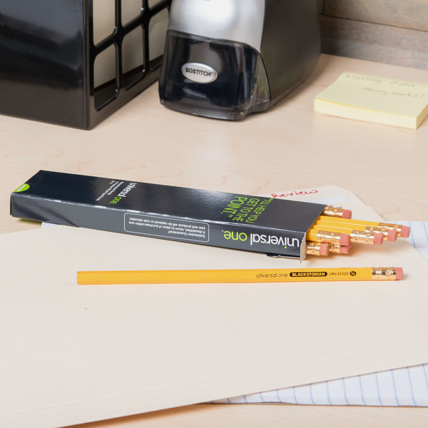 Universal One UNV55520 Medium Soft Yellow Barrel HB Lead #2 Blackstonian Pencil - 12/Pack Main Image 6