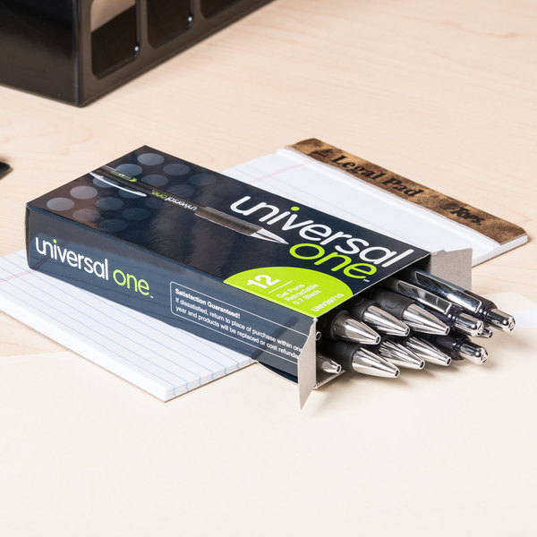 Universal UNV39720 Black Medium Point 0.7mm Retractable Rollerball Gel Pen - 12/Pack