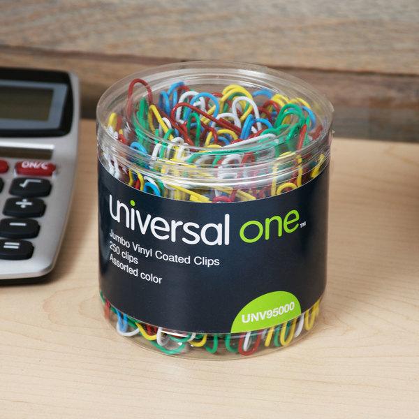 Universal UNV95000 Assorted Color Jumbo Vinyl-Coated Paper Clip - 250/Box