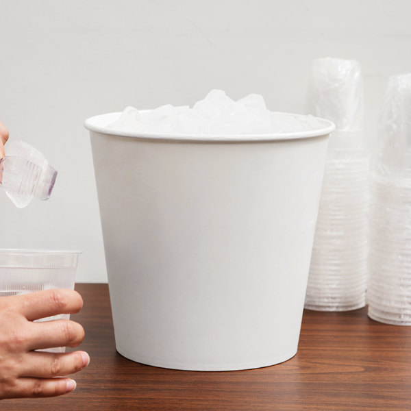 Lavex Lodging 10 lb. White Disposable Paper Ice Bucket - 25/Pack