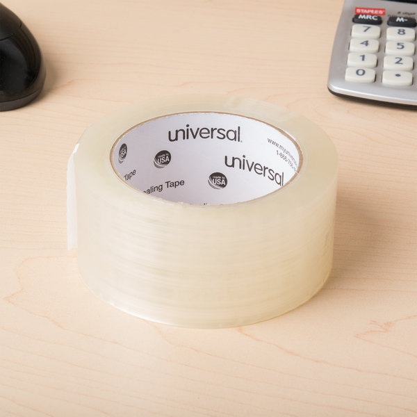 "Universal One UNV66100 2"" x 110 Yards Clear General Purpose Acrylic Box Sealing Tape - 12/Pack"