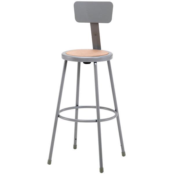 "National Public Seating 6230B 30"" Gray Round Hardboard Lab Stool with Adjustable Backrest"
