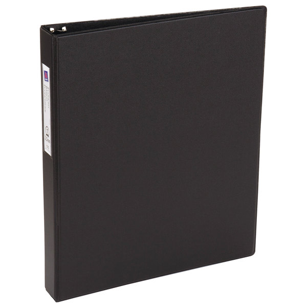 Avery 4301 Black Economy Non-View Binder with 1 inch Round Rings and Spine Label Holder