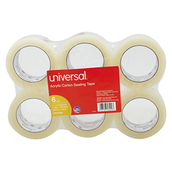"""Universal One UNV53200 2"""" x 110 Yards Clear General Purpose Acrylic Box Sealing Tape - 6/Pack Main Image 1"""