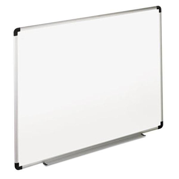 "Universal UNV43723 36"" x 24"" White Melamine Dry Erase Board with Aluminum Frame and Black Plastic Corners"