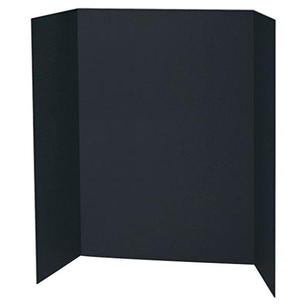 "Pacon 3766 Spotlight 24"" x 36"" Black Tri-Fold Corrugated Presentation Display Board - 24/Case"