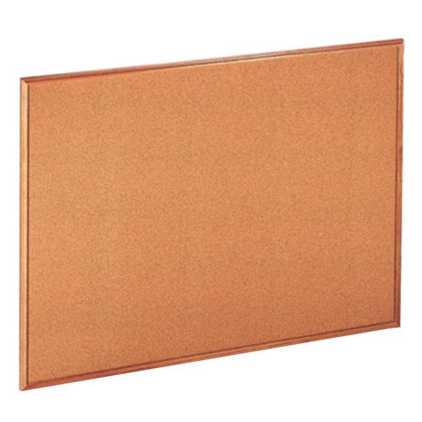 "Universal UNV43604 36"" x 48"" Natural Cork Board with Oak Frame"