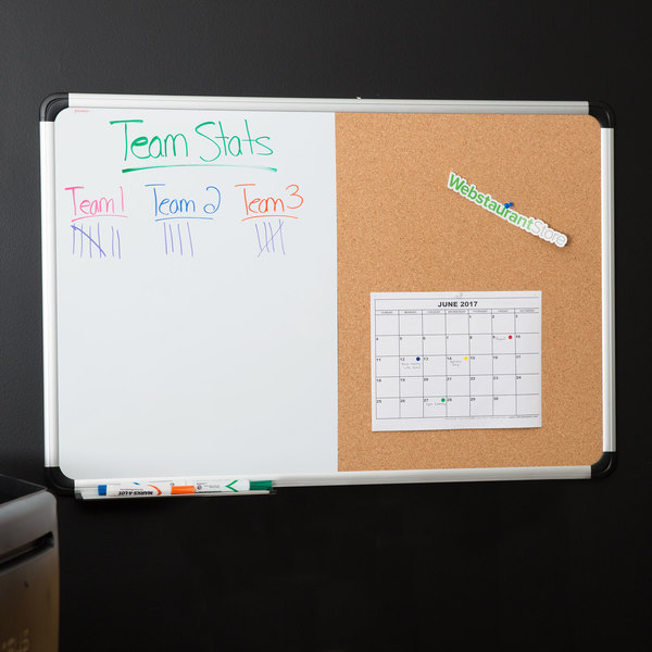 "Universal UNV43743 24"" x 36"" Two Panel Board with White Write-On Dry Erase Board, Natural Cork Board, and Aluminum Frame"
