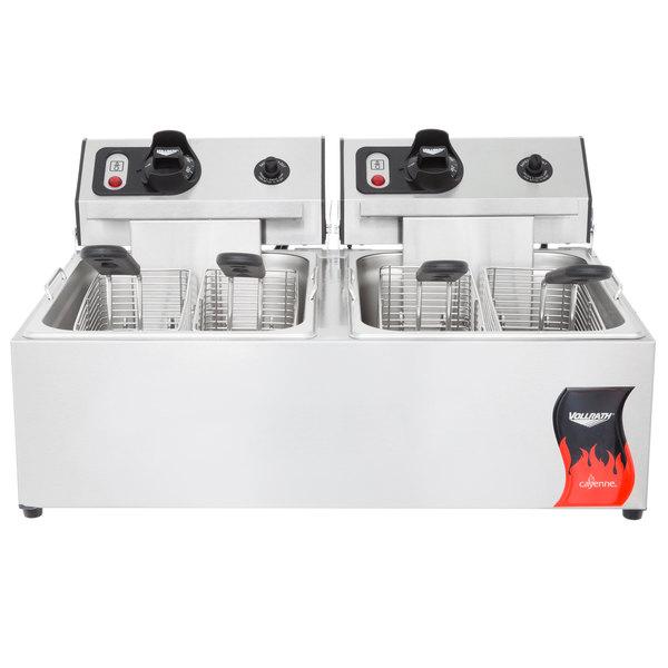Vollrath 40708 20 lb. Commercial Countertop Deep Fryer 220V 2 x 2500W