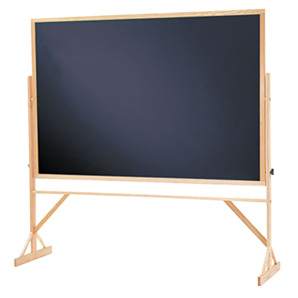 """Quartet 406810 72"""" x 48"""" Black Reversible Chalkboard with Oak Frame"""