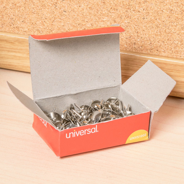 """Universal UNV51002 5/16"""" Silver Steel Thumb Tack - 10/Pack"""