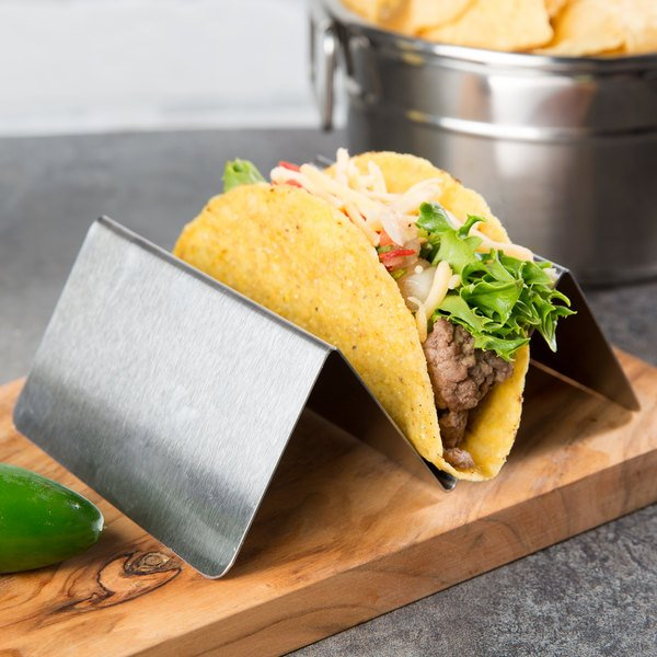 "Choice Stainless Steel Taco Holder with 1 or 2 Compartments - 4"" x 4"" x 2"""