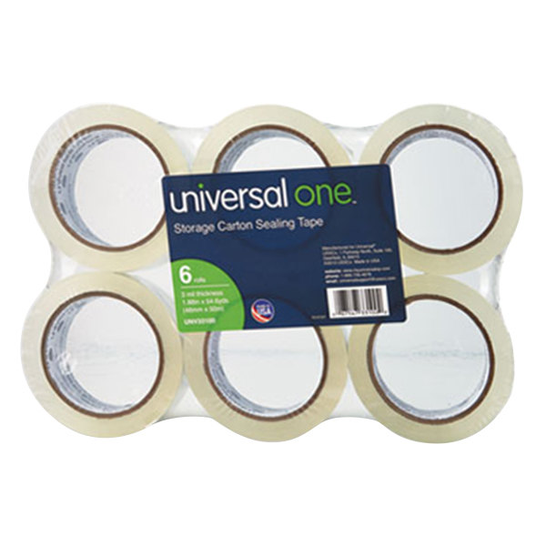 "Universal One UNV33100 2"" x 55 Yards Clear Heavy-Duty Acrylic Box Sealing Tape - 6/Pack"