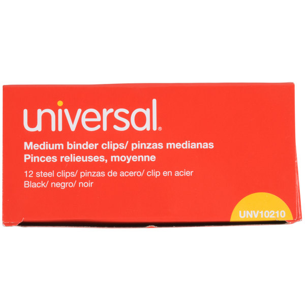 Universal UNV10210 5/8 inch Capacity Black Medium Binder Clip  - 12/Pack