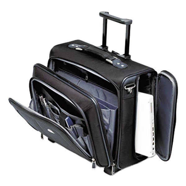 "Samsonite 110201041 17 1/2"" x 7 1/2"" x 15"" Black Nylon Side Loader Office Rolling Laptop Case"