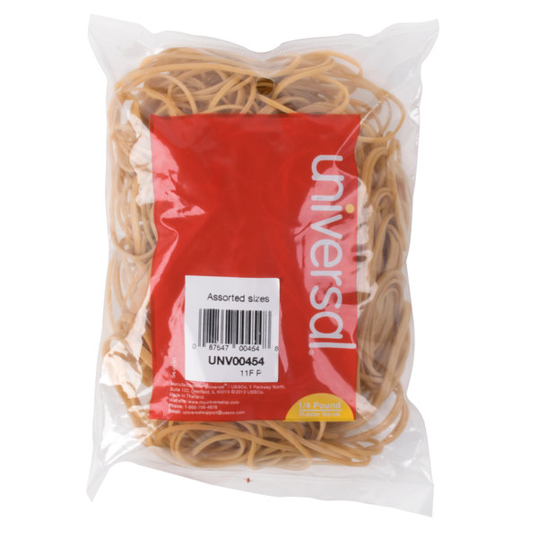 Universal UNV00454 Beige #54 Rubber Band, 1/4 lb. Length Assortment Main Image 1
