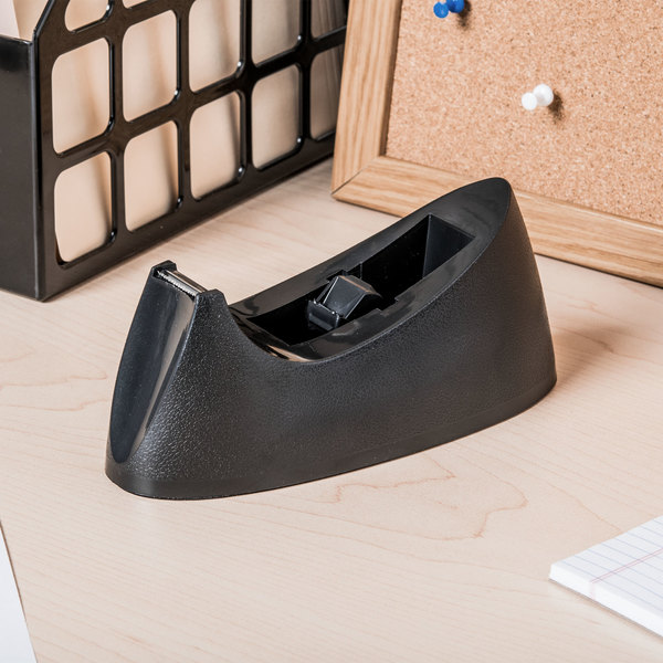 "Universal UNV15001 1"" Core Black Weighted Desktop Tape Dispenser with Nonskid Base"