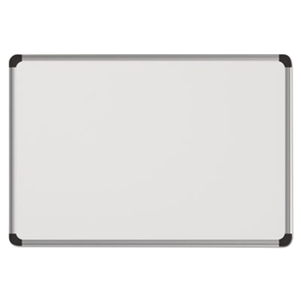 "Universal UNV43734 48"" x 36"" White Magnetic Steel Dry Erase Board with Aluminum Frame and Black Plastic Corners"