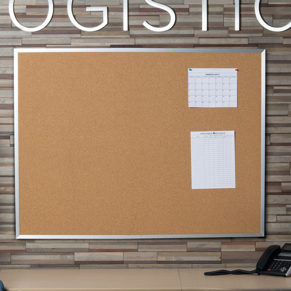 universal unv43614 36 x 48 natural cork board with aluminum frame