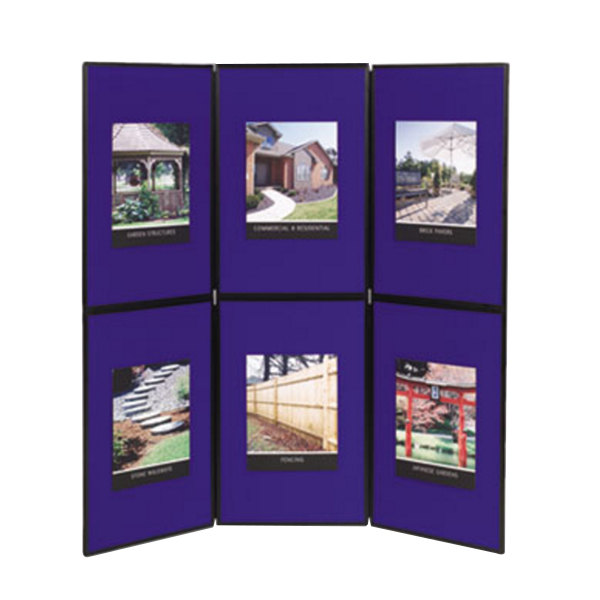 """Quartet SB93516Q Show-It! 72"""" x 72"""" Blue and Gray Double Sided 3 Panel Display Board Main Image 1"""