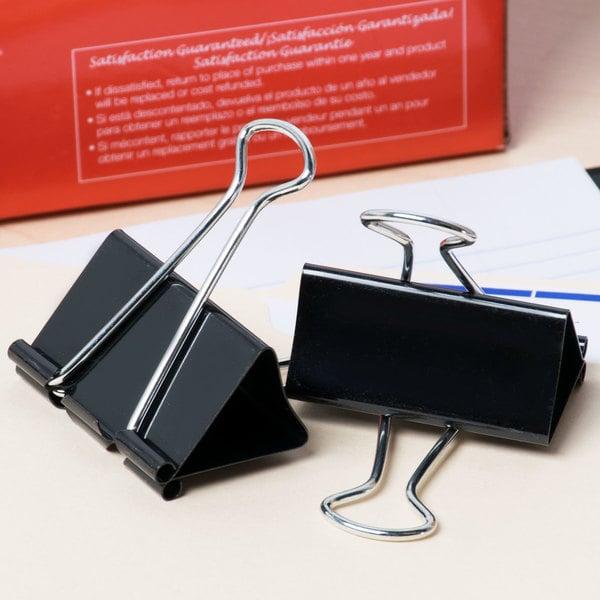 "Universal UNV10220 1"" Capacity Black Large Binder Clip - 12/Case Main Image 7"