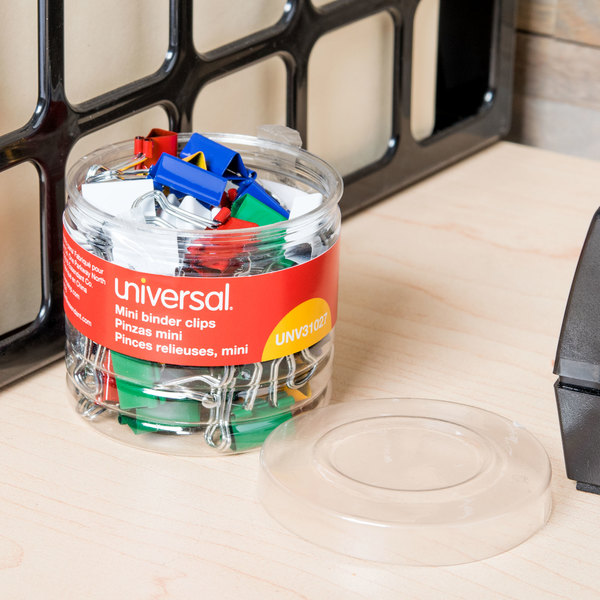 "Universal UNV31027 1/4"" Capacity Assorted Color Mini Binder Clips - 60/Box"