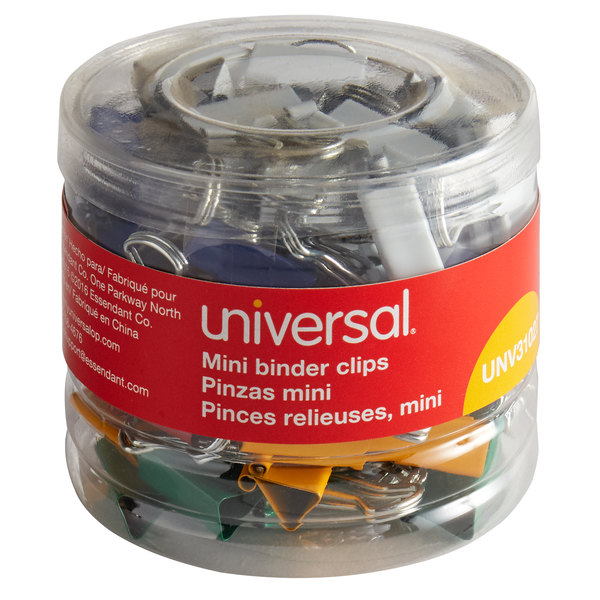"Universal UNV31027 1/4"" Capacity Assorted Color Mini Binder Clips - 60/Box Main Image 1"