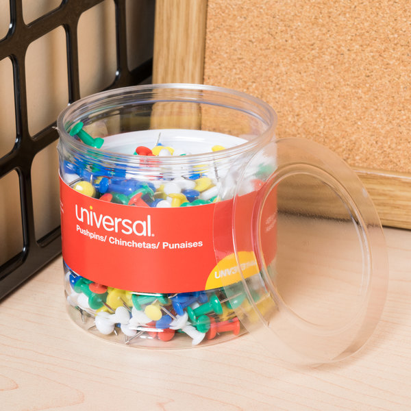 """Universal UNV31314 3/8"""" Plastic Push Pin in Assorted Rainbow Colors - 400/Pack Main Image 6"""
