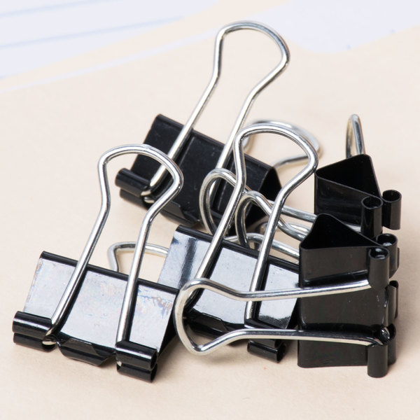 "Universal UNV10200 3/8"" Capacity Black Small Binder Clip - 12/Pack"