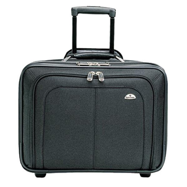 "Samsonite 110211041 Business One 17 1/2"" x 14"" x 9"" Black Top Loader Mobile Office Rolling Laptop Case / Business Case"