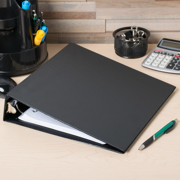"Avery 4501 Black Economy Non-View Binder with 2"" Round Rings and Spine Label Holder Main Image 3"