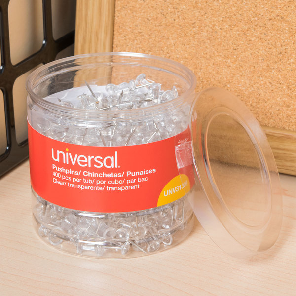 "Universal UNV31306 3/8"" Clear Plastic Push Pin - 400/Pack"
