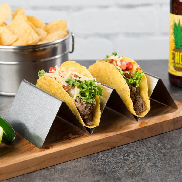 """Choice Stainless Steel Taco Holder with 2 or 3 Compartments - 8"""" x 4"""" x 2"""""""
