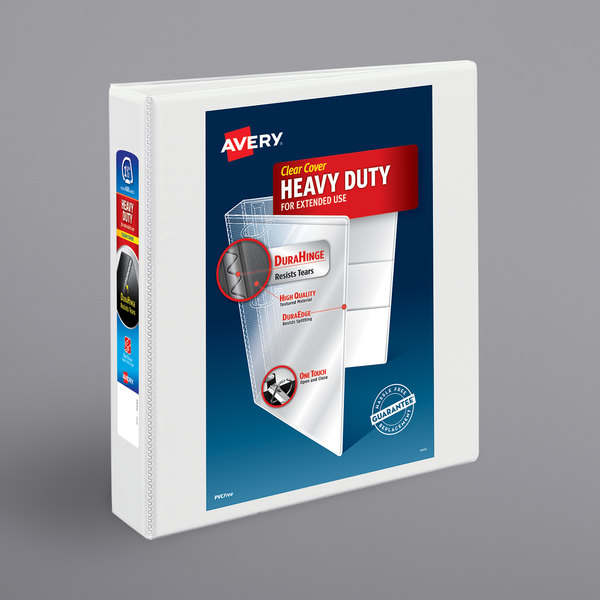 """Avery 5404 White Heavy-Duty Non-Stick View Binder with 1 1/2"""" Slant Rings Main Image 1"""