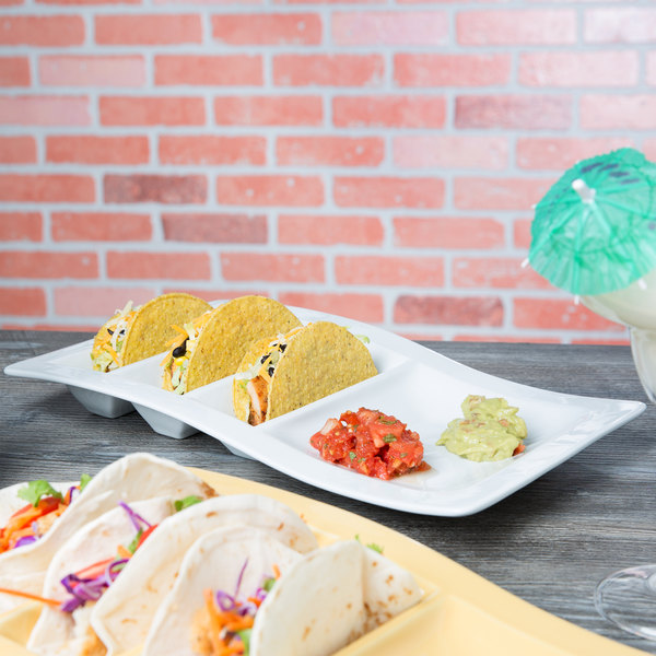 Tuxton GZP-800 TuxTrendz 14 5/8\  x 8 5/8\  Bright White Stackable China Taco Plate ... : taco holder plate - pezcame.com