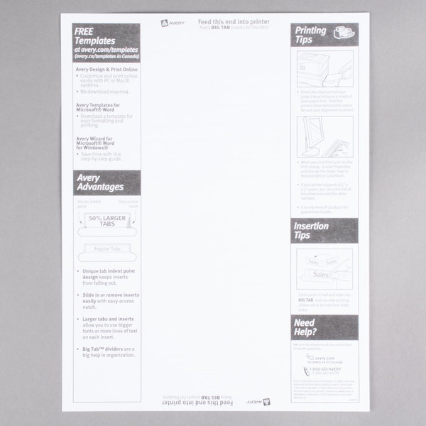 Avery 11110 Big Tab Buff Paper 5 Tab Clear Insertable Dividers