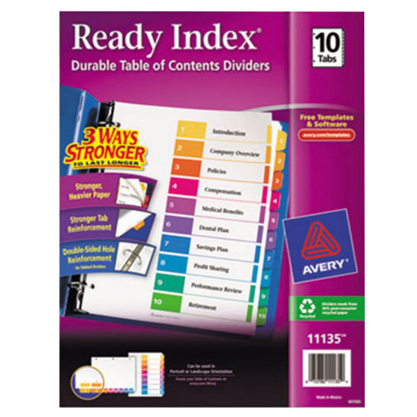Avery 11135 Ready Index 10-Tab Multi-Color Table of Contents Dividers Main Image 1