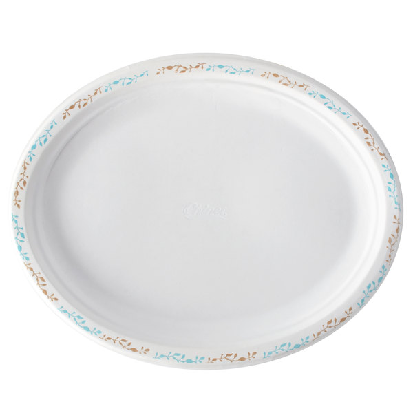 Huhtamaki Chinet 22518 7 1/2 inch x 10 inch Molded Fiber Oval Platter with Vines Design - 125/Pack
