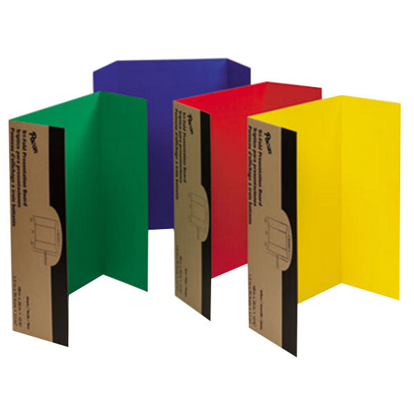 """Pacon 37654 Spotlight 24"""" x 36"""" Assorted Color Tri-Fold Corrugated Presentation Display Boards - 4/Pack"""